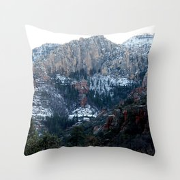 SNOWY RED ROCK Throw Pillow