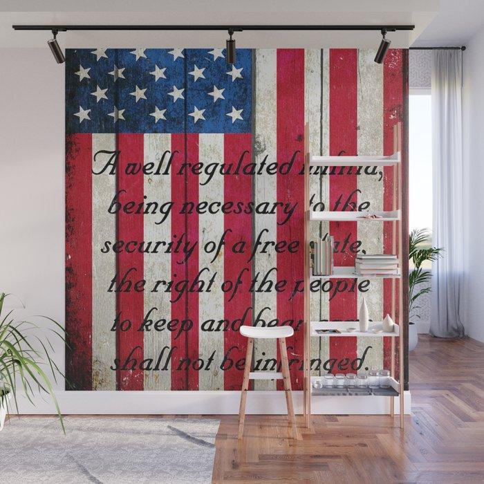 2nd Amendment on American Flag - Vertical Print Wall Mural