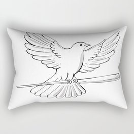 Pigeon or Dove Flying With Cane Drawing Rectangular Pillow