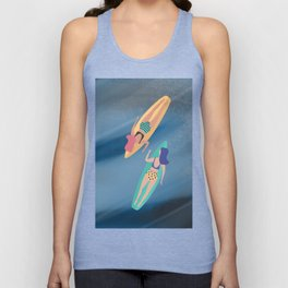 Surf Sisters - Muted Ocean Color Girl Power Unisex Tank Top