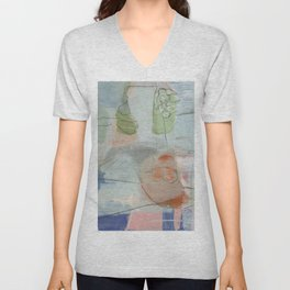 From Memory III - abstract pink, green, aegean teal, orange Unisex V-Neck