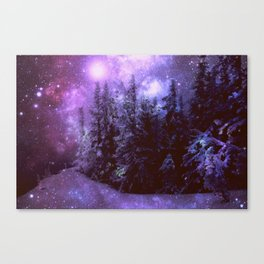 Galaxy Winter Forest Purple Canvas Print