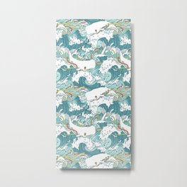 Whales and waves pattern Metal Print