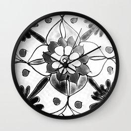 Black and White Talavera Four Wall Clock