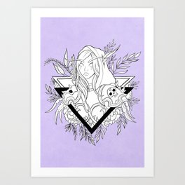 Elf Lady // Black & White Art Print