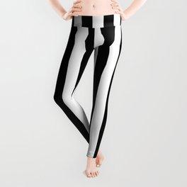Stripes Black and White Vertical Leggings