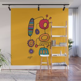 Feather Flower Chime in Color Wall Mural