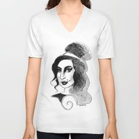 amy poehler V-neck T-shirts featuring amy by chicco montanari
