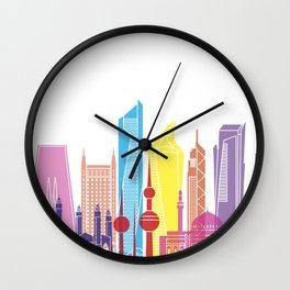 Kuwait V2 skyline pop Wall Clock