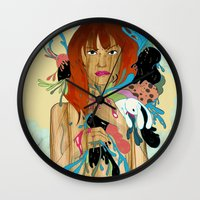 anxiety Wall Clocks featuring Anxiety by Jane Lim illustration
