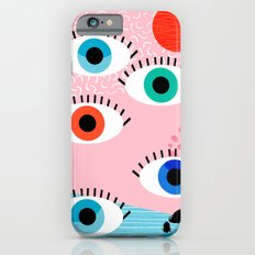 Noob - eyes memphis retro throwback 1980s 80s style neon art print pop art retro vintage minimal iPhone 6s Slim Case
