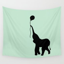 Elephant with Balloon - Mint Wall Tapestry