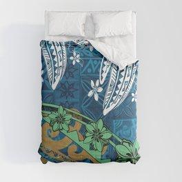 Polynesian - Samoan - Blue Hawaii Tribal Threads Print Comforters