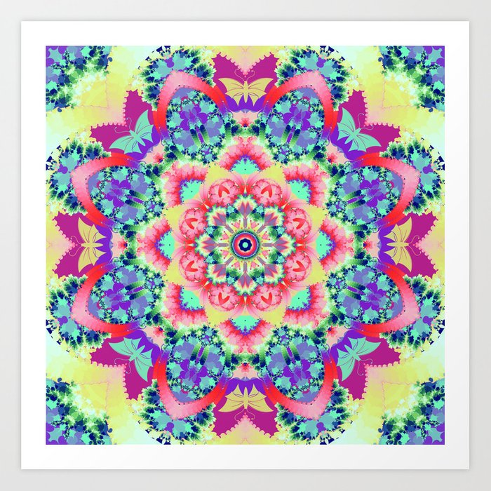 Whimsical floral kaleidoscope with butterflies Art Print