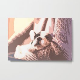 A Brown Puppy Sleeping On Brown Sweater Metal Print