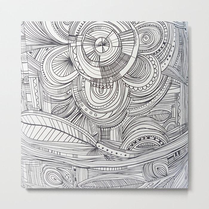 Hand drawn black white pencil zentangle floral Metal Print