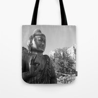 buddah Tote Bags featuring Buddah by Nicolette Hand