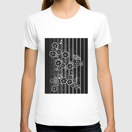 Abstract white and black flowers with background T-shirt