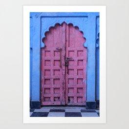Pink Door In The Blue City, Jodhpur Art Print