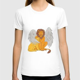 Winged Lion With Cub Under Its Wing Drawing T-shirt