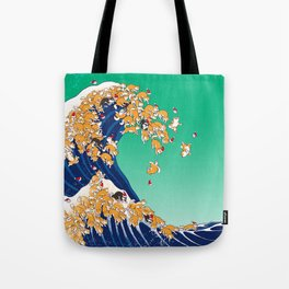 Christmas Shiba Inu The Great Wave Tote Bag