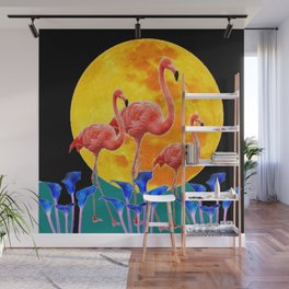 BLACK PINK FLAMINGOS FULL MOON BLUE LILIES Wall Mural