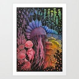 Jellyfish Mushroom Composition | Rainbow Illustration Art Print