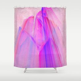 Pink sunset in the glowing city Shower Curtain