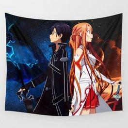asuna kirito back to back Wall Tapestry