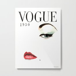 Vintage Vogue Magazine Cover. Fashion Illustration. Metal Print