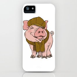 Pig in hat and scarf iPhone Case