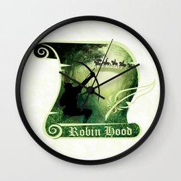 Robin Hood - Scroll - Green Wall Clock