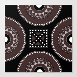 African tribal geometric decor, black, brown, white. Canvas Print
