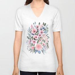 "Loose watercolor floral bouquet, ""Clara"" Unisex V-Neck"