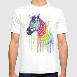 Zebra Watercolor Rainbow Animal Painting Ode to Fruit Stripes T-shirt