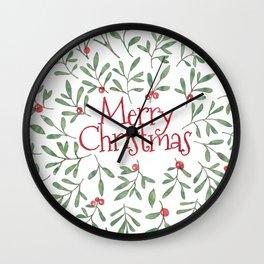 Watercolor Mistletoe Wall Clock