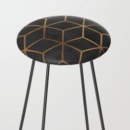 Charcoal and Gold - Geometric Textured Cube Design I Counter Stool