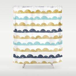 Golden Pastel Clouds Shower Curtain