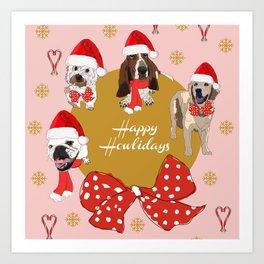 Happy Howlidays! Santa Dogs! (pink/red) Art Print