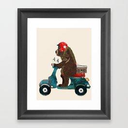 scooter bear Framed Art Print