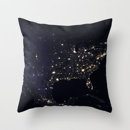United States at Night Throw Pillow