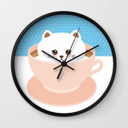 Cute Kawai cat in pink cup, coffee art Wall Clock