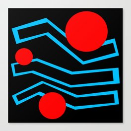 Black Lines And Red Dots Canvas Print