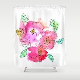 Pink Watercolor Flowers // Floral Feelings Shower Curtain
