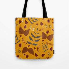 Autumn leaves and acorns - ochre and brown Tote Bag