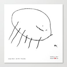 [spider with food] - nadya 3 yr Canvas Print