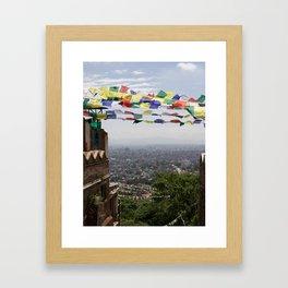 Prayer Flags Over Kathmandu Framed Art Print