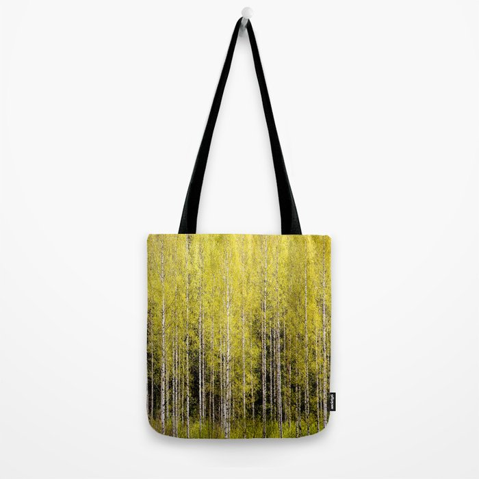Lovely spring atmosphere - vibrant green leaves on the trees - beautiful birch grove Tote Bag
