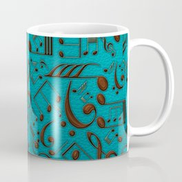 Faux Leather Embossed Musical notes on teal Coffee Mug