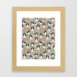 Cavalier King Charles Spaniel floral flowers dog breed pattern dogs mint Framed Art Print